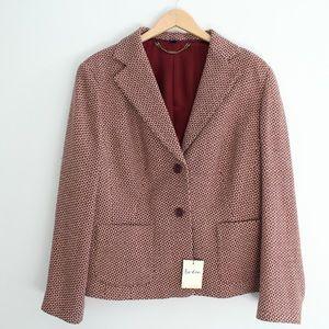 Boden Maroon Wool Print Suit Set Blazer / Skirt